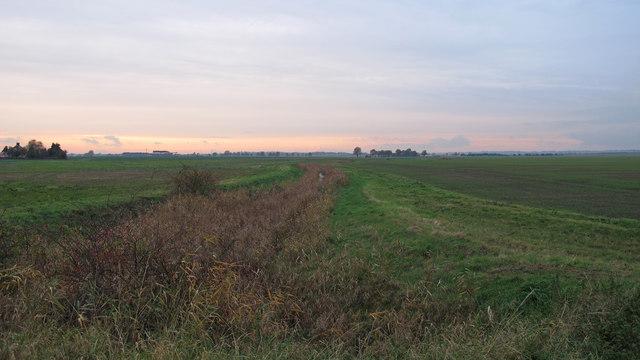 Ditch between 2 fields