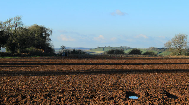 2012 : Ploughed field and view south of Batcombe
