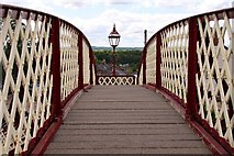 NY6820 : Footbridge over the railway by Steve Daniels