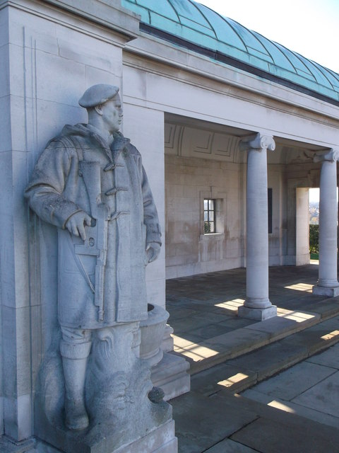 One of the statues on the surround of the Chatham Naval Memorial
