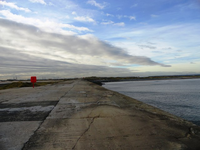 View down the breakwater