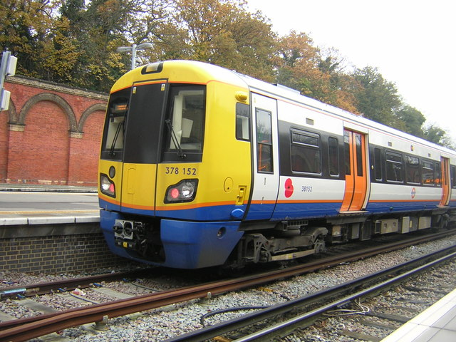 London Overground train with remembrance poppy