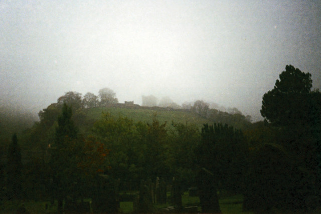 View towards Peveril Castle from the churchyard, Castleton