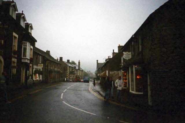 Main road through Castleton village, November 1990