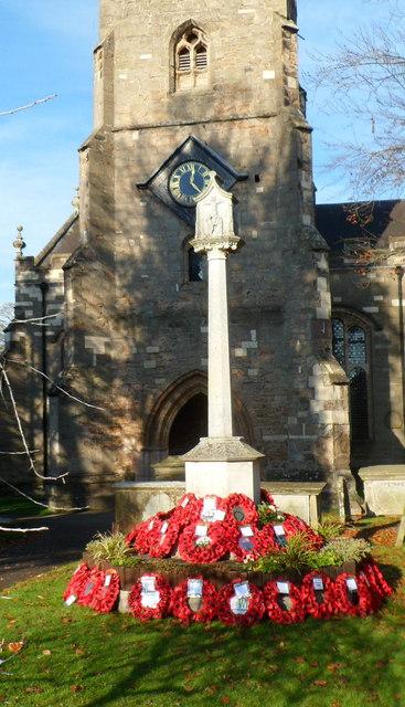 Poppy wreaths, St Mary's Church War Memorial, Newent