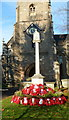 SO7225 : Poppy wreaths, St Mary's Church War Memorial, Newent by Jaggery