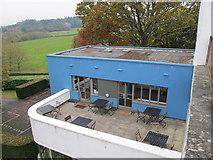 SX7962 : High Cross House, Dartington - terrace outside cafe by David Hawgood