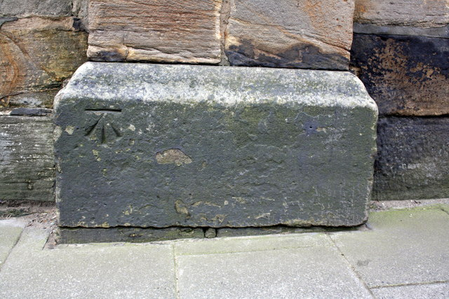 Benchmark on Westgate Hill cemetery wall pier
