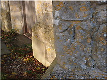 SP7014 : Bench mark on a buttress wall, St Mary's, Ashendon by Michael Trolove