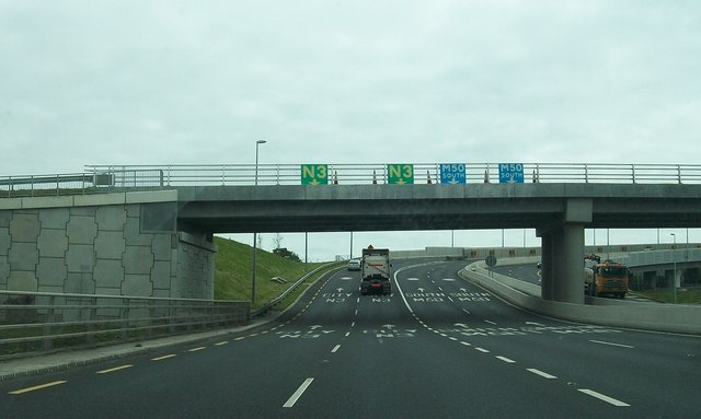 The N3/M50 interchange in the north-western suburbs of Dublin