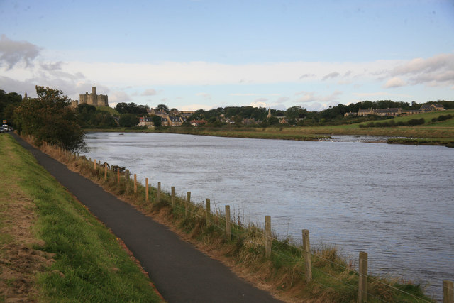 Warkworth Castle in the distance