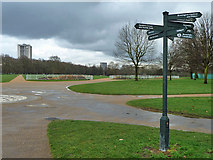 TQ2780 : Eleven way path junction, Hyde Park by Robin Webster