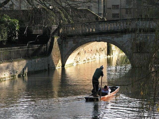 Punting towards Clare Bridge