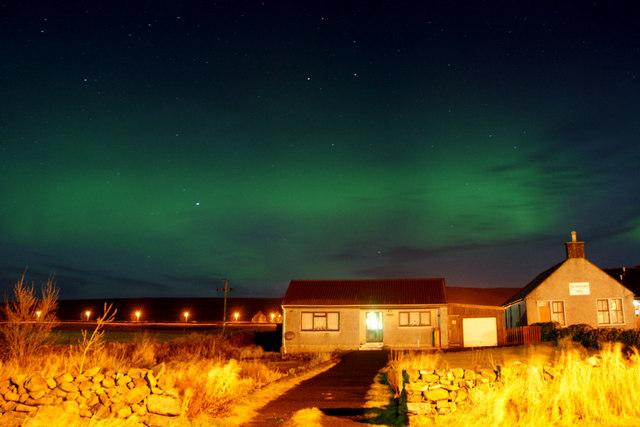 Aurora borealis over Ivy Cottage, Baltasound