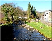 SH5848 : Afon Colwyn upstream from Pont Beddgelert, Beddgelert by Jaggery