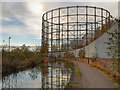 SJ8698 : Bradford Gasholder, Ashton Canal by David Dixon