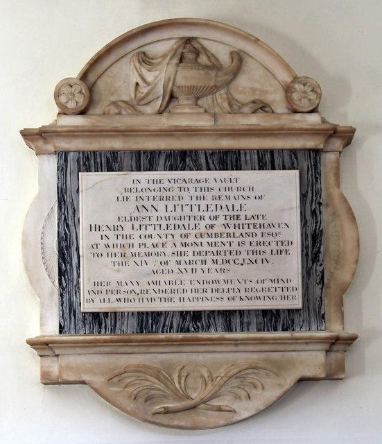 St Mary, Church Street, Twickenham - Wall monument