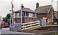 SD2177 : Askam station, signalbox and crossing, 1998 by Ben Brooksbank