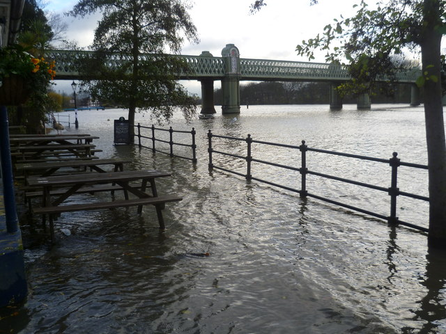 Flooded terrace of the City Barge at Strand-on-the-Green