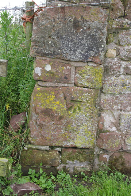 Benchmark on corner of wall NNE of the Battery by Roger Templeman