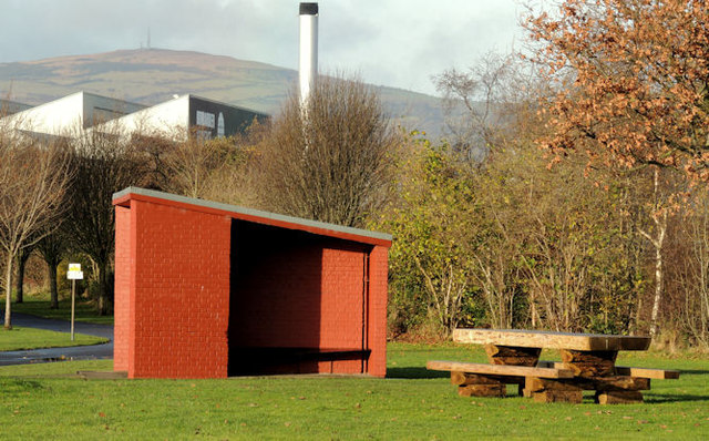 Shelter and picnic table, Victoria Park, Belfast