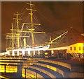 TQ7569 : HMS Gannet at Chatham's Historic Dockyard at Night by David Anstiss