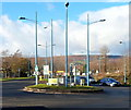 ST2994 : Not much space for grass on a Cwmbran mini-roundabout by Jaggery
