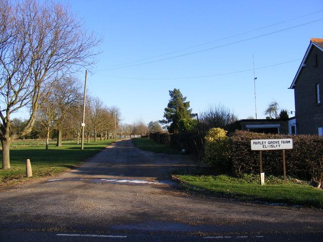 The entrance to Papley Grove Farm
