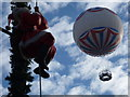SZ0891 : Bournemouth: Santa goes up while the balloon comes down by Chris Downer