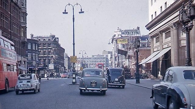 Northward on Tottenham Court Road, approaching Euston Road, 1962