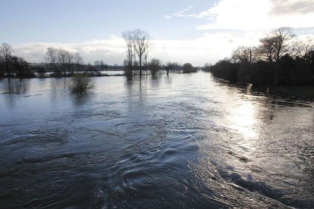 Downstream of the bridge