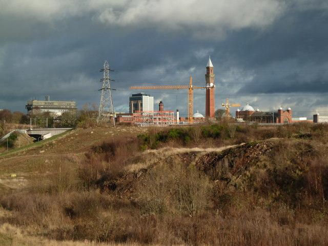 Birmingham University across wasteland