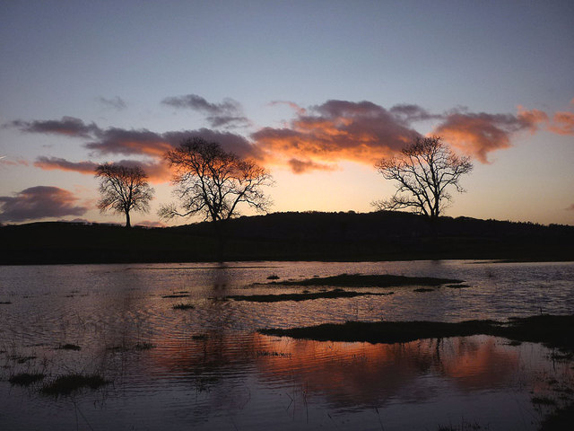 Flooded field at dusk, Yealand Redmayne