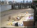 TQ3180 : Sculpting in sand below Gabriel's Wharf, SE1 by Robin Stott