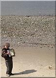 TQ3180 : Busking on the beach below Gabriel's Wharf, SE1 by Robin Stott