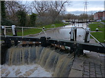 SK5702 : Overflowing water at St Mary's Mill Lock by Mat Fascione