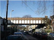 TQ4085 : Railway bridge over Cranmer Road, Forest Gate  by David Anstiss