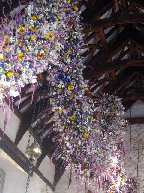 The Christmas garland in the Great Hall at Cotehele