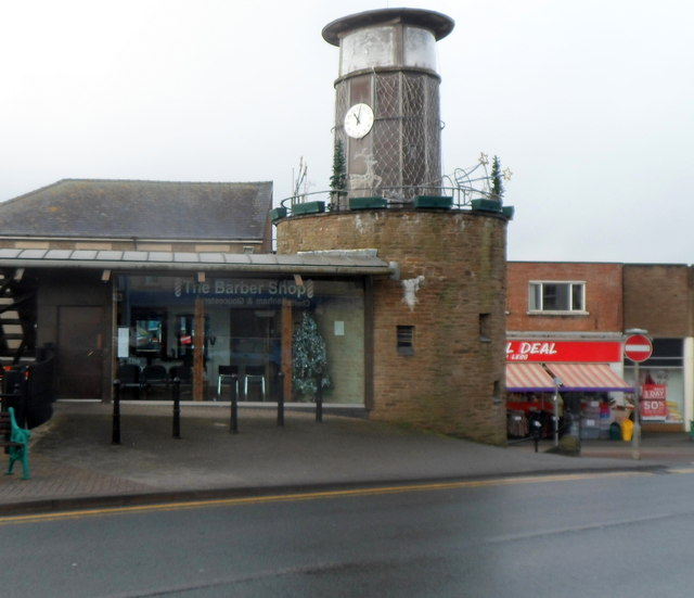 Clock tower and barber shop in the centre of Cinderford