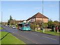 SK5636 : Temporary bus shuttle  by Alan Murray-Rust
