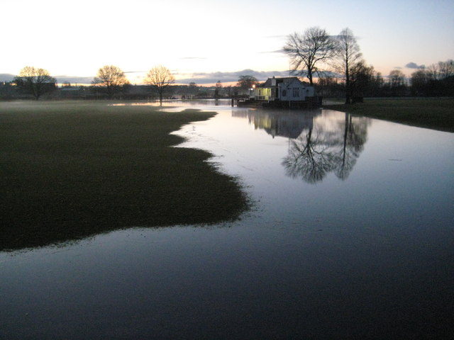 Rising floodwater at dawn