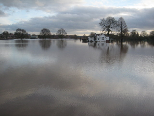 A flooded playing field