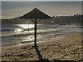 SZ0379 : Sunshade, Swanage Beach by David Dixon
