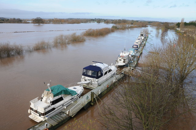 Boats moored on a flooded River Severn