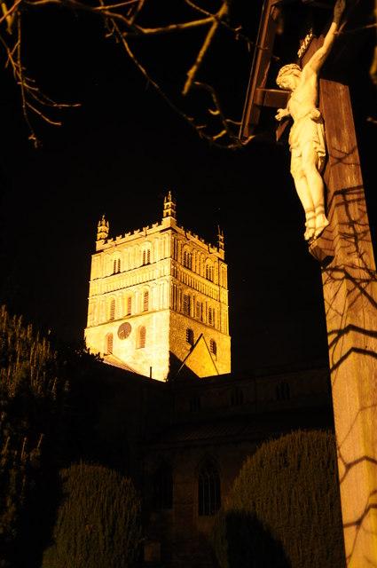 Crucifix and Tewkesbury Abbey