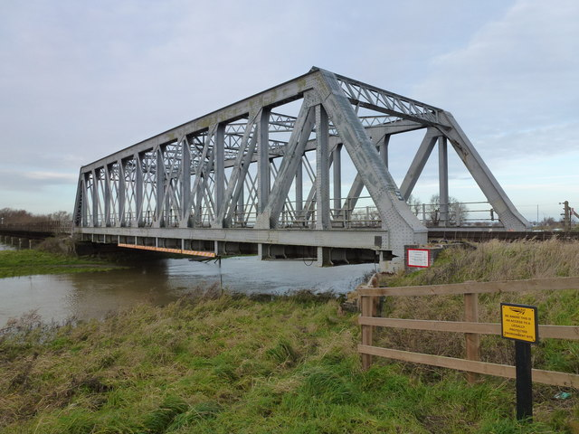 Railway bridge over The Hundred Foot Drain - The Ouse Washes