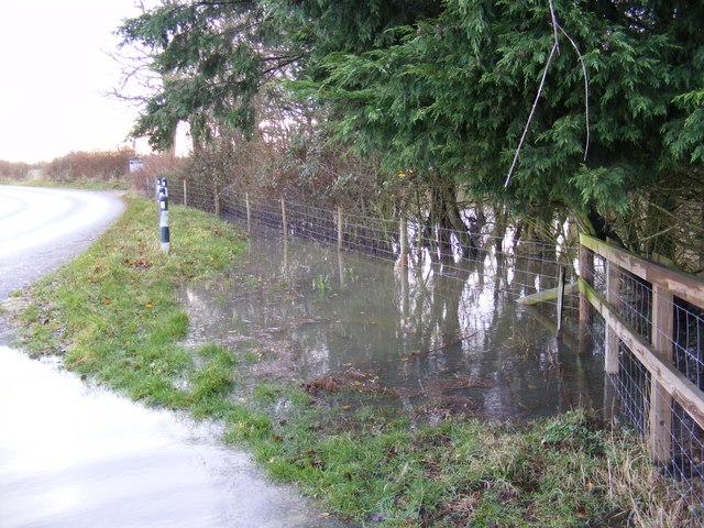 Flooded front of Corner Farm
