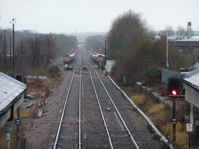 The railway line west of Worksop station