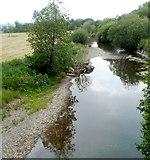 SN7634 : Afon Bran downstream from Waterloo Bridge, Llandovery by Jaggery