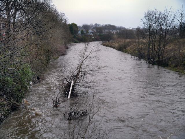 River Irwell, downstream from Warth Bridge